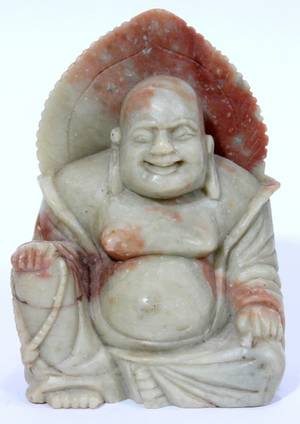 021471 CHINESE SOAPSTONE SEATED BUDDHA C 1920 H 3