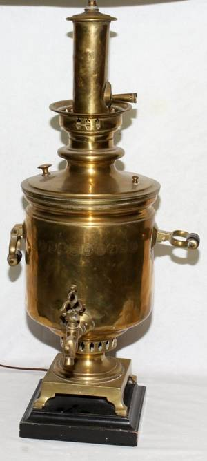 RUSSIAN BRASS SAMOVAR C 1900 H 26 W 10