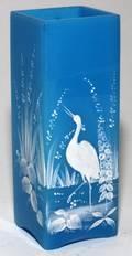 BLUE OPALINE GLASS  ENAMEL VASE H 7 W 2 12