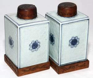 CHINESE BLUE  WHITE PORCELAIN TEA CADDIES 19TH C PA