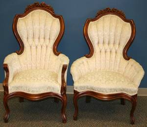 011510 FRENCH STYLE ARMCHAIRS SET OF TWO