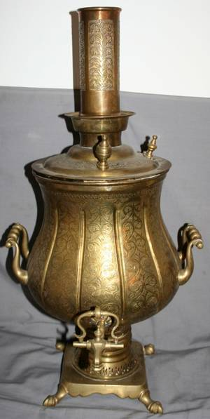 021508 TURKISH HANDCHASED BRASS SAMOVAR C 1900