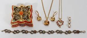 FABERGE STYLE BOX AND JEWELRY GROUPING