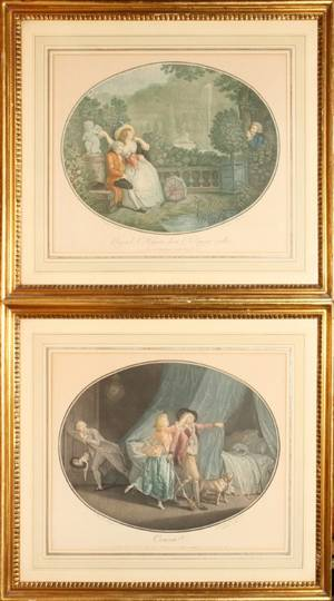 OVAL COLOR MEZZOTINTS 11X14 COURTING SCENES