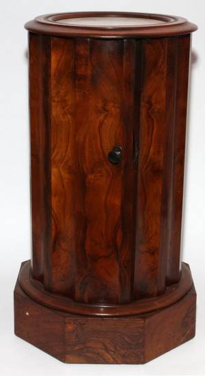 BURL WALNUT STAND WITH INSET MARBLE TOP H 28