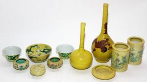 CHINESE YELLOW GLAZED CERAMIC VESSELS ELEVEN H 1 12
