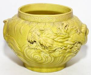 CHINESE YELLOW GLAZED JARDINIRE EARLY 20TH C H 6 3