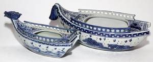 CHINESE BLUE  WHITE PORCELAIN BOATFORM PLANTERS TWO