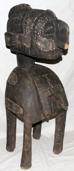 ANTIQUE AFRICAN CARVED WOOD FEMALE FIGURE H 42