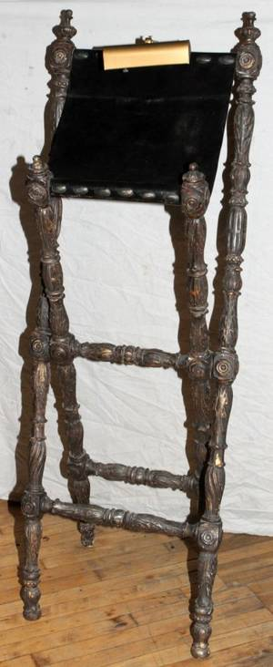 121578 ITALIAN CARVED WOOD READING RACK 19TH C
