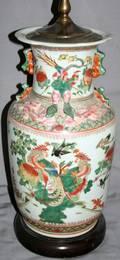 021557 CHINESE PORCELAIN  ENAMEL URN MOUNTED AS LAMP
