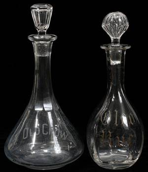 021549 HANDBLOWN GLASS DECANTERS 2 LATE 19TH C