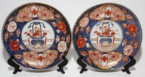 JAPANESE IMARI PORCELAIN PLATES 19TH C PAIR DIA 8 3