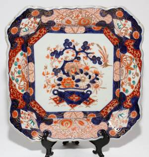 JAPANESE IMARI PORCELAIN DISH 19TH C W 11 SQUARE