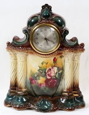 121615 ENGLISH DEMIPORCELAIN MANTEL CLOCK C 1900