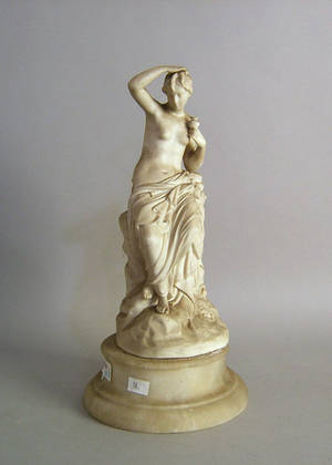 Parian figure of a maiden on a marble plinth