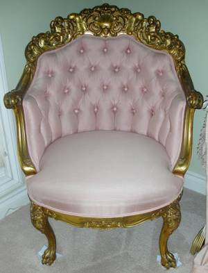 031055 FRENCH STYLE CARVED GILT WOOD ARMCHAIR C 1900