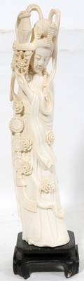 030018 CHINESE CARVED IVORY FEMALE FIGURE 20 TH C