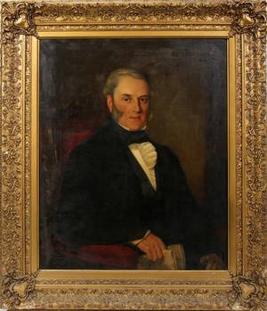 022051 ENGLISH OIL ON CANVAS PORTRAIT OF MAN C1850