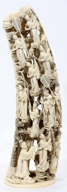 020003 CHINESE CARVED IVORY SCULPTURE H 18 12