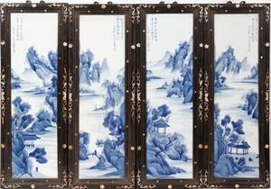 011044 CHINESE BLUE  WHITE PORCELAIN 4 PANEL SCREEN