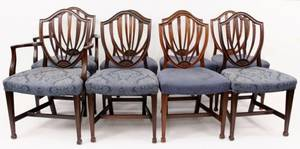 Set of 8 Hepplewhite Style Sheild Back Side Chairs