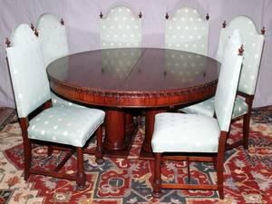 MAHOGANY ROUND DINING TABLE W6 CHAIRS DIA 60