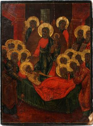 RUSSIAN ICON OF THE DORMITION OF THE VIRGIN