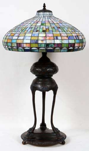 BRONZE LEADED GLASS LAMP MODERN H 44