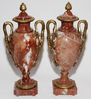 FRENCH MARBLE  BRONZEMOUNTED COVERED URNS