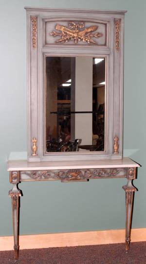 010061 LOUIS XVI STYLE MARBLE TOP CONSOLE AND MIRROR