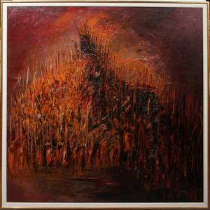 090095 GEORGE VIHOS 1937 OIL ON CANVAS ABSTRACT
