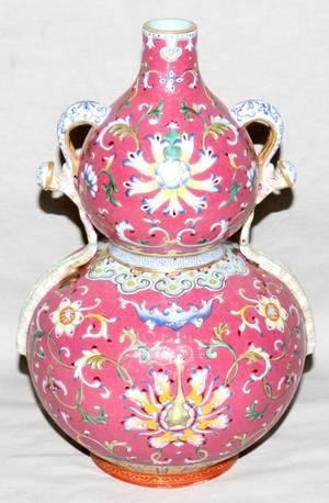 041063 CHINESE FAMILLE ROSE PORCELAIN GOURD FORM VASE