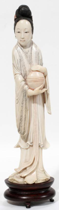 071084 CHINESE CARVED IVORY FIGURE OF QUAN YIN 19TH C