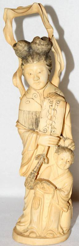 042066 CHINESE CARVED IVORY FIGURE H 12