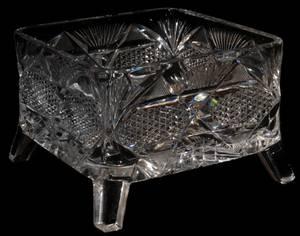 061150 LIBBEY CUT GLASS SQUARE BOWL C 1900 H 4
