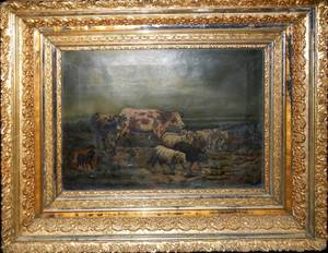060071 OIL ON CANVAS 19TH C 19 X 14 COWS  SHEEP