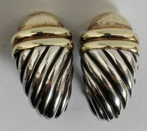 052069 DAVID YURMAN SILVER AND GOLD CLIP EARRINGS