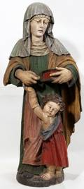 042087 GERMAN CARVED WOOD VIRGIN AND CHILD POLYCHROMED