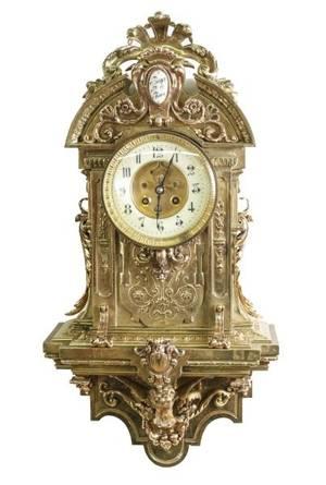 French Gilt Bronze AD Mougin Wall Clock