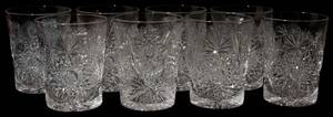 061162 LIBBEY CUT GLASS TUMBLERS SET OF 8 H 3 34
