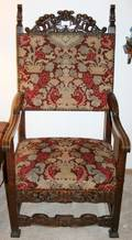 040082 ENGLISH CARVED WALNUT ARM CHAIR NEEDLE POINT