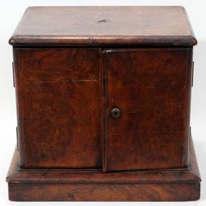 081166 ENGLISH BURL WALNUT COLLECTORS CABINET H 11