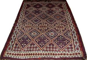 070120 ANTIQUE MOROCCAN HAND KNOTTED WOOL RUG 90 X