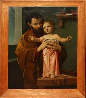 062222 OIL ON CANVAS 26  ST JOSEPH  CHRIST CHILD
