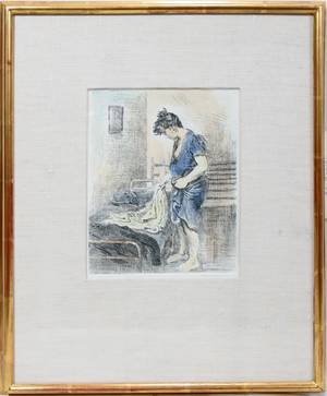 080156 RAPHAEL SOYER HANDCOLORED ETCHING 10 X 8
