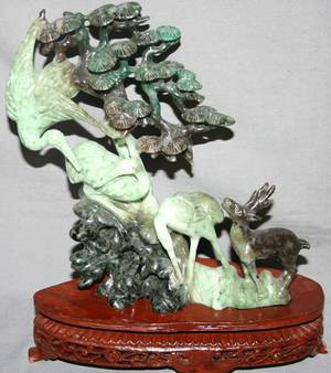 080128 CHINESE CARVED SERPENTINE SCULPTURE H 7