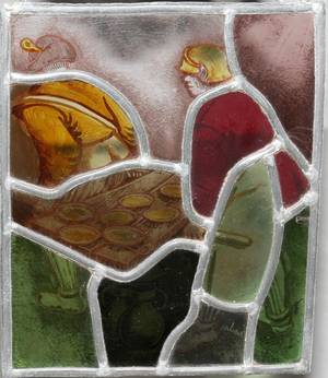 071230 STAINED  LEADED GLASS PANEL AFTER BRUEGEL