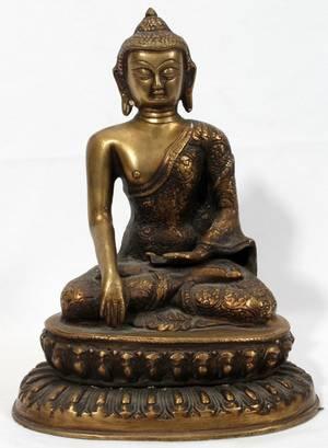 062260 ASIAN BRONZE SEATED BUDDHA H 12 W 8 12