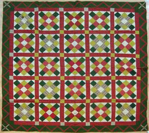 Pieced block in grid quilt